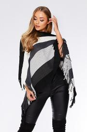 Grey Stripe Fringe Poncho