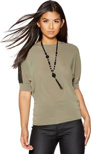 Khaki Lace Shoulder Detail Light Knit Necklace Top