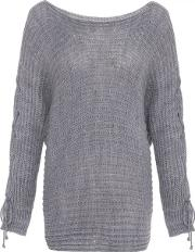 Light Grey Knitted Batwing Sleeve Jumper