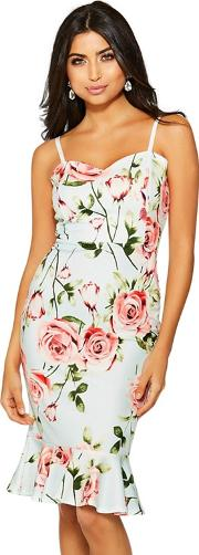 Mint And Pink Floral Strap Midi Dress