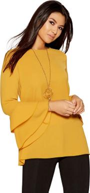 Mustard Bubble Double Frill Necklace Top