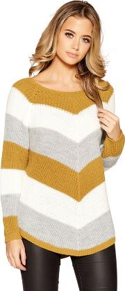 Mustard, Cream And Grey Stripe Knitted Jumper