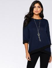 Navy And Black Light Knit Necklace Jumper