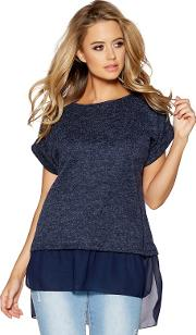 Navy Light Knit Chiffon Hem Necklace Top