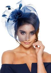 Navy Rose Large Net Fascinator