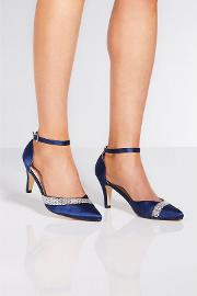 Navy Satin Diamante High Heels