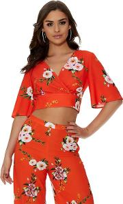 Orange And White Floral Crop Top