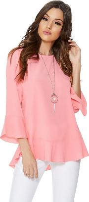 Pink Bubble Crepe Frill Sleeveless Top