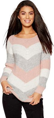 Pink Cream And Grey Stripe Knitted Jumper