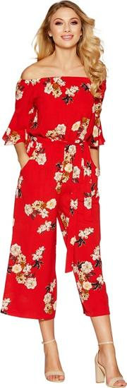 Red Floral Print Frill Sleeve Culotte Jumpsuit