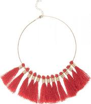Red Statement Tassel Necklace