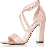 eef785394e0 Rose Gold Glitter Block Heel Strappy Sandals