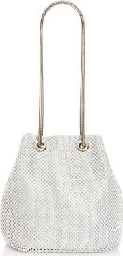 Silver Diamante Snake Chain Pouch Bag