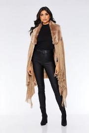 Taupe Faux Fur Trim Knit Poncho