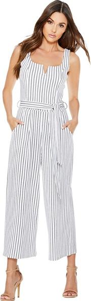 78f55e6111a White And Navy Stripe Tie Belt Jumpsuit. quiz