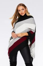 Wine Stripe Cowl Neck Poncho
