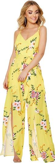 Yellow And Pink Floral Split Leg Jumpsuit