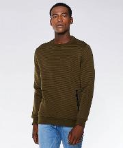 Khaki Quilted Over Head Slim Fit Jumper