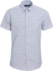Navy And White Miniature Floral Print Slim Fit Shirt
