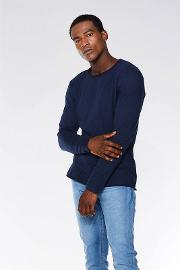 Navy Long Sleeves Muscle Fit T Shirt