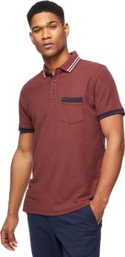 Big And Tall Dark Red Tipped Polo Shirt