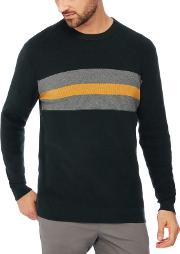 Big And Tall Green Chest Stripe Knitted Cotton Jumper