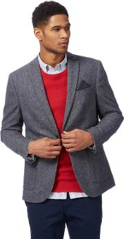 Big And Tall Grey Textured Blazer With Wool