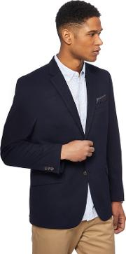 Big And Tall Navy Pique Blazer With Pocket Square