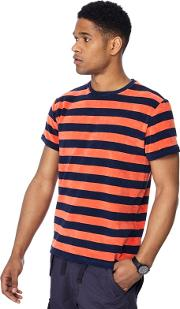 Big And Tall Orange Striped Towelling T Shirt
