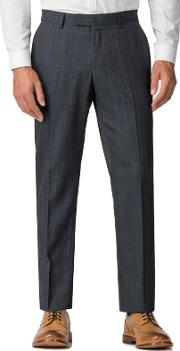 Blue Rust Check Tailored Trousers