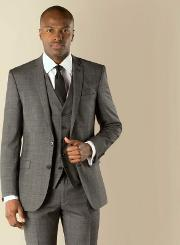 Charcoal With Plum Check Tailored Fit 2 Button Suit Jacket