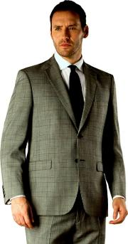 Grey Check Regular Fit 2 Button Suit Jacket