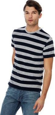 Grey Striped Towelling T Shirt