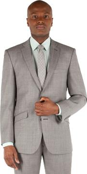 Light Grey Pick And Pick Tailored Fit 2 Button Suit Jacket