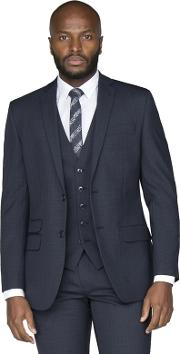 finest selection 1662b 9aef1 Navy Broken Check Wool Blend Tailored Fit Suit Jacket. racing green