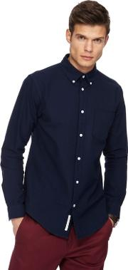 Navy Oxford Tailored Fit Shirt
