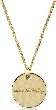 Gold broad Street Disc Pendant Necklace