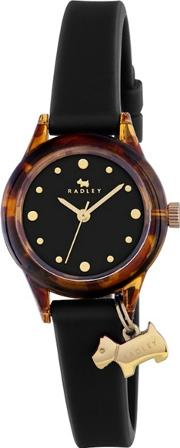 Ladies tortoise With Gold Black Silicone Strap Watch Ry2324