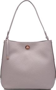 Large Light Grey Leather carey Street Bucket Hobo Bag