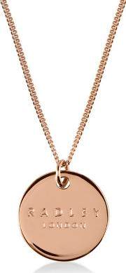 Rose Gold broad Street Disc Pendant Necklace