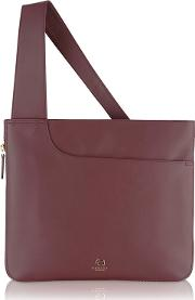 Wine Red Leather pockets Large Crossbody Bag