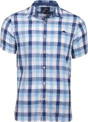 Mid Blue Short Sleeve Check Shirt