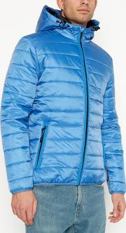 Big And Tall Bright Blue Hooded Padded Coat