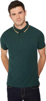 Big And Tall Dark Green Tipped Collar Polo Shirt