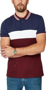 Big And Tall Dark Red Cut And Sew Slim Fit Polo Shirt