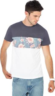 Big And Tall Grey Floral Print Panel Slim Fit T Shirt