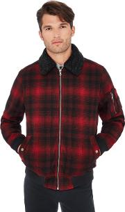 Big And Tall Red Borg Collar Tartan Check Flight Jacket With Wool