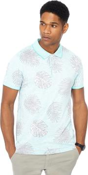 Big And Tall Turquoise Floral Print Slim Fit Polo Shirt