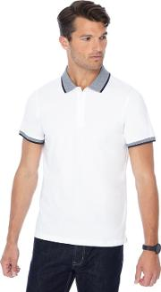 Big And Tall White Textured Collar Slim Fit Polo Shirt