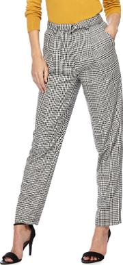 Black And White Dogtooth Checked Trousers